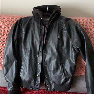 Obey faux leather jacket size large